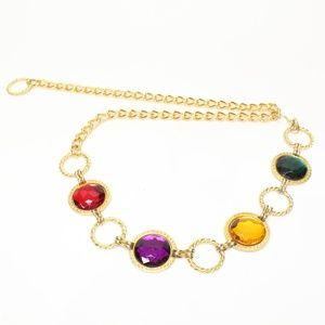 Vintage Color Jewel Gem Gold Chain Belt